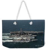 Underway Replenishment At Sea With U.s Weekender Tote Bag