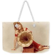 60s Pin Up Girl With Vintage Record Phonograph Weekender Tote Bag