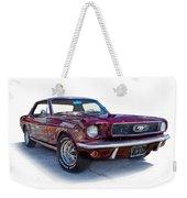 69 Ford Mustang Weekender Tote Bag by Mamie Thornbrue
