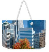 Charlotte North Carolina Cityscape During Autumn Season Weekender Tote Bag
