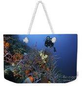 Scuba Diver Swims Underwater Amongst Weekender Tote Bag by Terry Moore