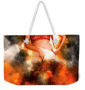 Asian Woman With Santa Hat  Weekender Tote Bag