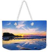 Beach Skyset Sunset On A Perranporth Beach Cornwall Weekender Tote Bag