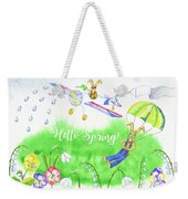 Rabbits And Flowers Weekender Tote Bag