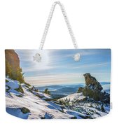 Amazing Winter Landscape With Frozen Snow-covered Trees On Mountains In Sunny Morning  Weekender Tote Bag