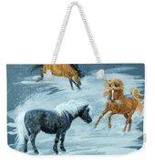 #9 - Ponies In Snow Weekender Tote Bag
