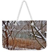The Bass River In Winter Weekender Tote Bag