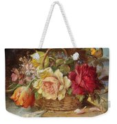 A Basket Of Flowers And A Butterfly Hans Zatzka Weekender Tote Bag