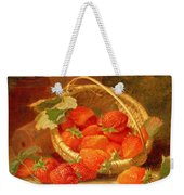 A Basket Of Strawberries On A Stone Ledge Weekender Tote Bag