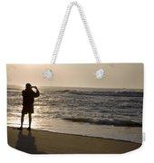 A Beach Walker Photographs Sunrise Weekender Tote Bag