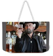 A Bearded Cowboy In Black Contemplates His Whiskey In A Saloon Weekender Tote Bag
