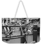 A Bicycle Parked At Fence, Netherlands Weekender Tote Bag