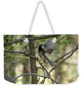 A Black Capped Chickadee Taking Off Weekender Tote Bag