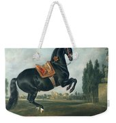 A Black Horse Performing The Courbette Weekender Tote Bag