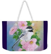 A Blackcapped Chickadee And Roses Weekender Tote Bag