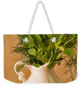 A Bouquet Of Fresh Herbs In A Tiny Jug Weekender Tote Bag