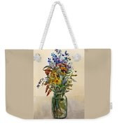 A Bouquet Of Wild Flowers In A Glass Jar. Weekender Tote Bag