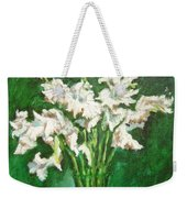 A Bunch Of White Gladioli Weekender Tote Bag