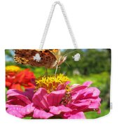 A Butterfly On The Pink Zinnia Weekender Tote Bag
