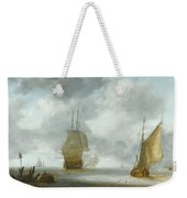 A Calm Sea With A Man Of War And A Fishing Boat Weekender Tote Bag