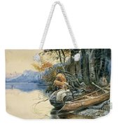 A Camp Site By The Lake Weekender Tote Bag