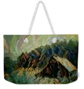 A Chance In The World Movie Dark Barn Crowded Into A Gully Between A Large Rocky Hill And A Grove Of Weekender Tote Bag