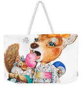 A Child Deer And Squirrel At The Summer Festival Weekender Tote Bag
