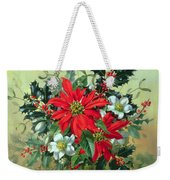 A Christmas Arrangement With Holly Mistletoe And Other Winter Flowers Weekender Tote Bag
