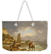 A Coastal Landscape Of The Isle Of Wight With Figures On Horse Back Near A Cottage Weekender Tote Bag