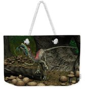 A Compsognathus Prepares To Swallow Weekender Tote Bag