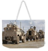 A Convoy Of Mrap Vehicles Near Camp Weekender Tote Bag
