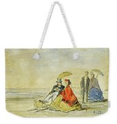 A Couple Seated And A Couple Walking On The Beach Weekender Tote Bag