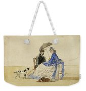 A Couple Seated On The Beach With Two Dogs Weekender Tote Bag