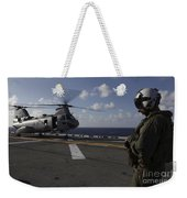 A Crew Chief Watches A Ch-46e Sea Weekender Tote Bag