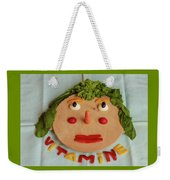 A Cutting-board With Pieces Of Colorful Vegetables  On A Blue  Tablecloth Weekender Tote Bag