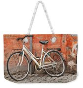 A Dejected Bicycle Waits Patiently On A Cobbled Street In Rome. Weekender Tote Bag