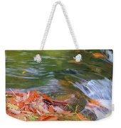 Flowing Water Fall Leaves Closeup Weekender Tote Bag