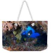 A Diver Peers Through A Coral Encrusted Weekender Tote Bag