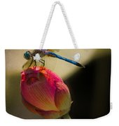 A Dragonfly Rests Momentarily On A Lotus Bud Weekender Tote Bag