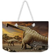 A Female Apatosaurus Laying Her Eggs Weekender Tote Bag