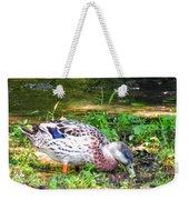 A Female Mallard Duck Is See Searching For Food 1 Weekender Tote Bag