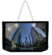 A Fisheye View Of The Chicago Skyline As You Appraoch Wolf Point Weekender Tote Bag
