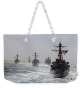 A Fleet Of Ships In Formation At Sea Weekender Tote Bag