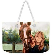Wide Eyed Girl And Her Horse Weekender Tote Bag