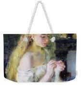 A Girl Crocheting Weekender Tote Bag by Pierre Auguste Renoir
