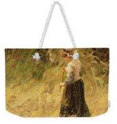 A Girl Harvesting Hay Weekender Tote Bag