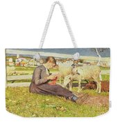 A Girl Knitting Weekender Tote Bag by Giovanni Segantini