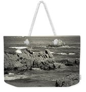 A Good Day Fishing On Monterey Bay In Black And White Weekender Tote Bag
