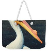 A Great White American Pelican Weekender Tote Bag by James W Johnson
