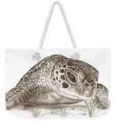 A Green Sea Turtle In Earthtones Weekender Tote Bag